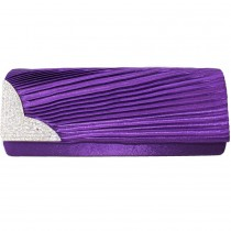 L1113 - Miss Lulu Ruched Diamante Evening Clutch Bag Purple