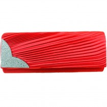 L1113 - Miss Lulu Ruched Diamante Evening Clutch Bag Red