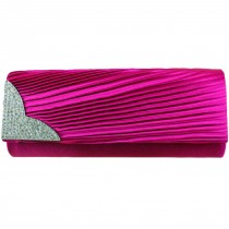 L1113 - Miss Lulu Ruched Diamante Evening Clutch Bag Plum