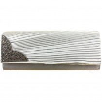 L1113 - Miss Lulu Ruched Diamante Evening Clutch Bag Silver