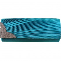 L1113 - Miss Lulu Ruched Diamante Evening Clutch Bag Teal