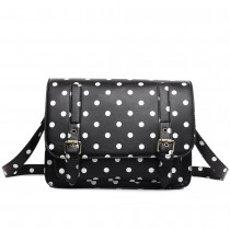 L1119D - Miss Lulu Medium Satchel Polka Dot Black