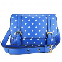 L1119D - Miss Lulu Medium Satchel Polka Dot Blue