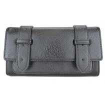 L1121 - Miss Lulu Faux Leather Flap Over  Purse Wallet Plain Black