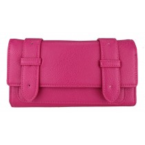 L1121 - Miss Lulu Faux Leather Flap Over  Purse Wallet  Plain Plum