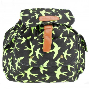 L1123S - Miss Lulu Canvas Backpack Swallows Green And Black