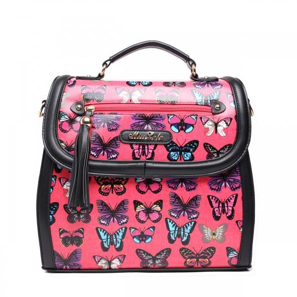 L1125 - Miss Lulu Large Butterfly Satchel Black