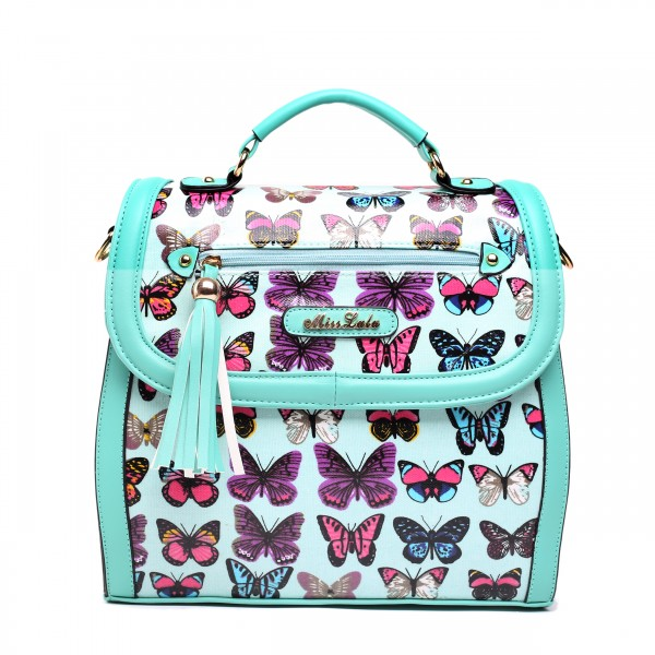 L1125 - Miss Lulu Large Butterfly Satchel Blue
