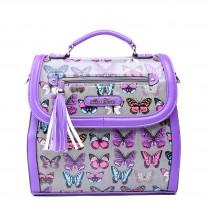 L1125 - Miss Lulu Large Butterfly Satchel Purple