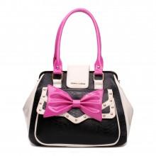 L1132 - Miss Lulu Snakeskin Bow Shoulder Bag Black