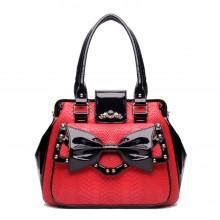 L1132 - Miss Lulu Snakeskin Bow Shoulder Bag Red