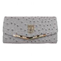 L1416 - Miss Lulu Stylish Ostrich Purse gray