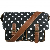 L1157D2 - Miss Lulu Canvas Satchel Polka Dot Black