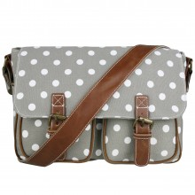 L1157D2 - Miss Lulu Canvas Satchel Polka Dot Grey