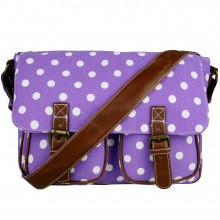 L1157D2 - Miss Lulu Canvas Satchel Polka Dot Purple