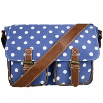 L1157D2 - Miss Lulu Canvas Satchel Polka Dot Navy