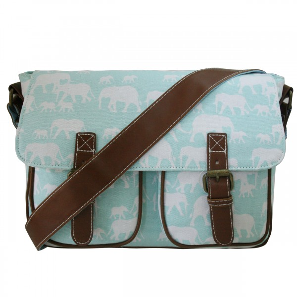 L1157E - Miss Lulu Canvas Satchel Elephant Blue