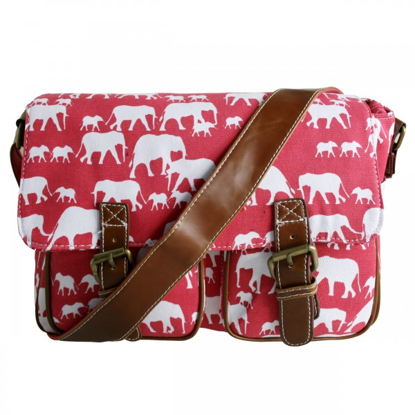 L1157E - Miss Lulu Canvas Satchel Elephant Red