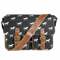L1157H - Miss Lulu Canvas Satchel Horse Black