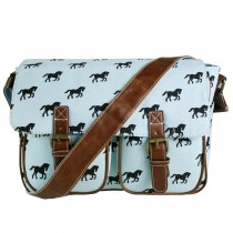 L1157H - Miss Lulu Canvas Satchel Horse Blue