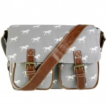 L1157H - Miss Lulu Canvas Satchel Horse Grey