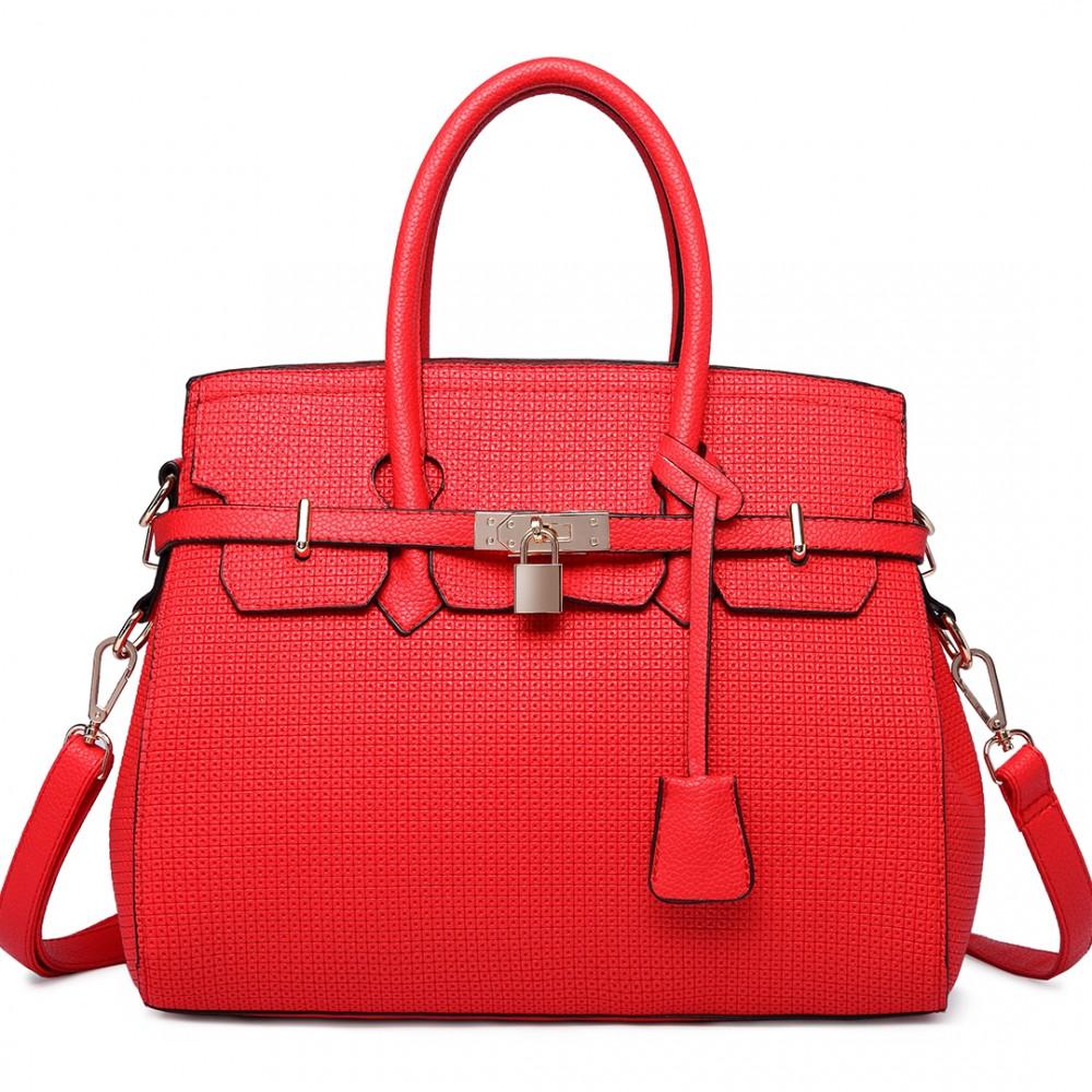 L1413 Miss Lulu Padlock Boston Handbag Plain Red
