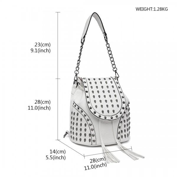 L1414 - Miss Lulu Skull Studded Backpack Shoulder Bag - Beige
