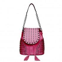 L1414 - Miss Lulu Skull Studded Backpack Shoulder Bag Plum