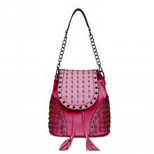 L1414 - Miss Lulu Skull Studded Backpack Shoulder Bag - Plum