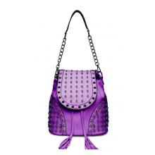 L1414 - Miss Lulu Skull Studded Backpack Shoulder Bag - Purple