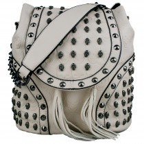 L1414 - Miss Lulu Skull Studded Backpack Shoulder Bag Beige