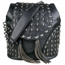 L1414 - Miss Lulu Skull Studded Backpack Shoulder Bag Black