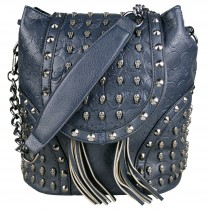 L1414 - Miss Lulu Skull Studded Backpack Shoulder Bag Navy