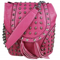 L1414 - Miss Lulu Skull Studded Backpack Shoulder Bag Plum