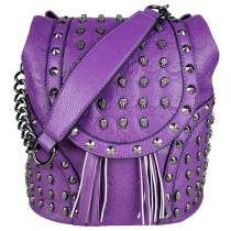 L1414 - Miss Lulu Skull Studded Backpack Shoulder Bag Purple