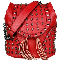 L1414 - Miss Lulu Skull Studded Backpack Shoulder Bag Red