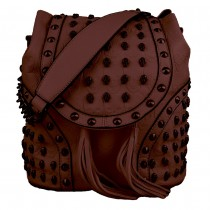 L1414 - Miss Lulu Skull Studded Backpack Shoulder Bag Brown