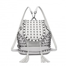 L1414 - Miss Lulu Skull Studded Backpack Shoulder Bag - Beige