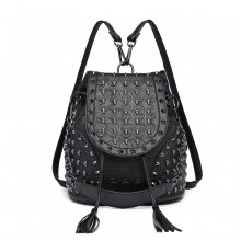 L1414 - Miss Lulu Skull Studded Backpack Shoulder Bag - Black