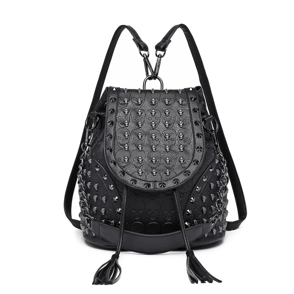 L1414 - Miss Lulu Skull Studded Backpack Shoulder Bag - Black