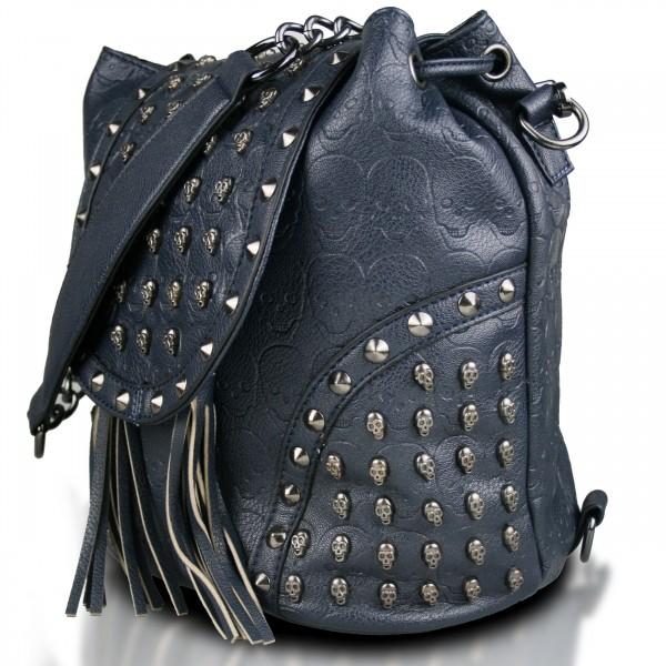 L1414 - Miss Lulu Skull Studded Backpack Shoulder Bag - Navy