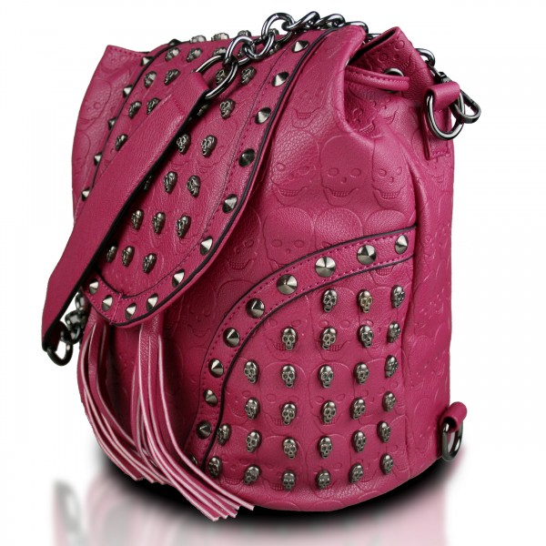 L1414 - Miss Lulu Skull Studded Backpack Shoulder Bag - Plum
