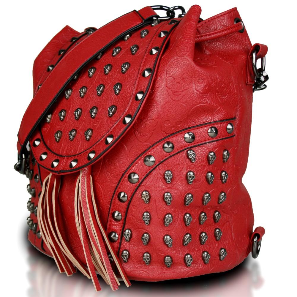 Miss Lulu Skull Studded Backpack Shoulder Bag Red