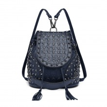 L1414 - Miss Lulu Skull Studded Backpack Shoulder Bag - Navy