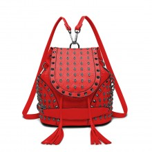 L1414 - Miss Lulu Skull Studded Backpack Shoulder Bag - Red
