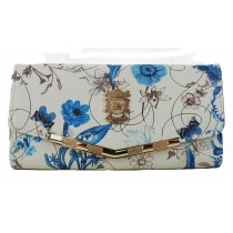 L1416F - Miss Lulu Stylish Floral Purse Blue