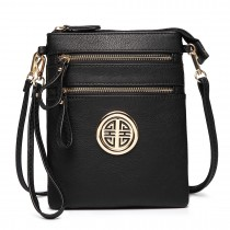 L1417 - Miss Lulu Cross Body Pouch Bag Black