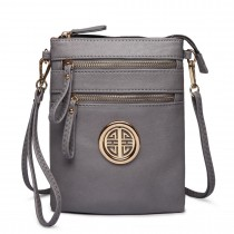 L1417 - Miss Lulu Cross Body Pouch Bag Grey