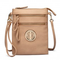 L1417 - Miss Lulu Cross Body Pouch Bag Beige
