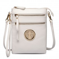 L1417 - Miss Lulu Cross Body Pouch Bag White